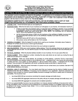 electrical contractor licence application form