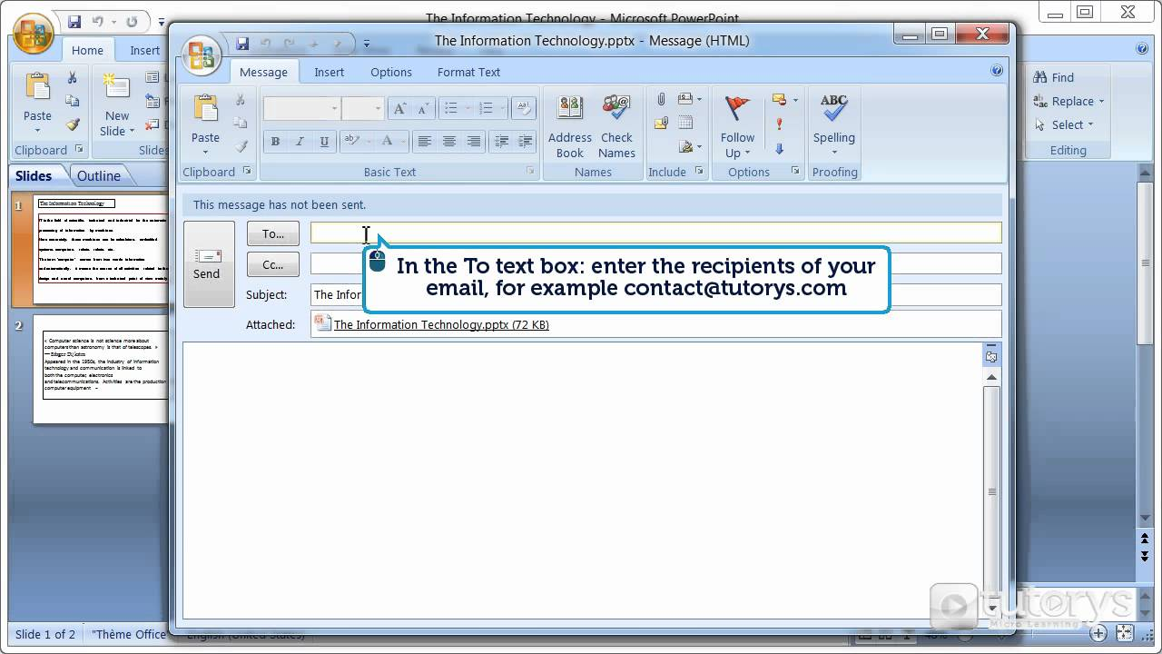 how to send an application through email