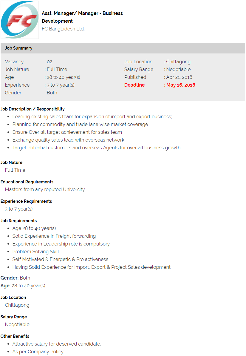 job application for marketing manager