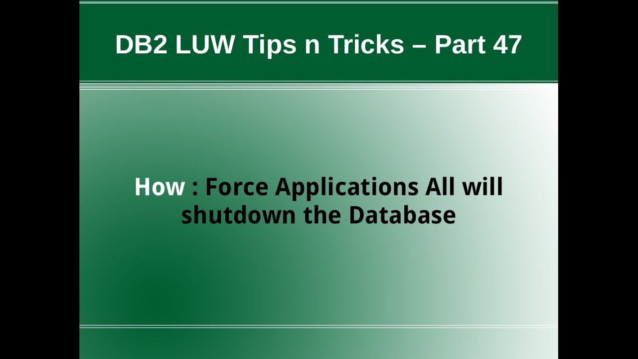 db2 force application for specific database