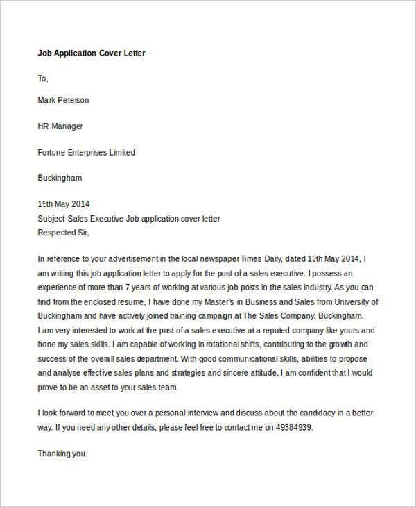 professional cover letter for job application