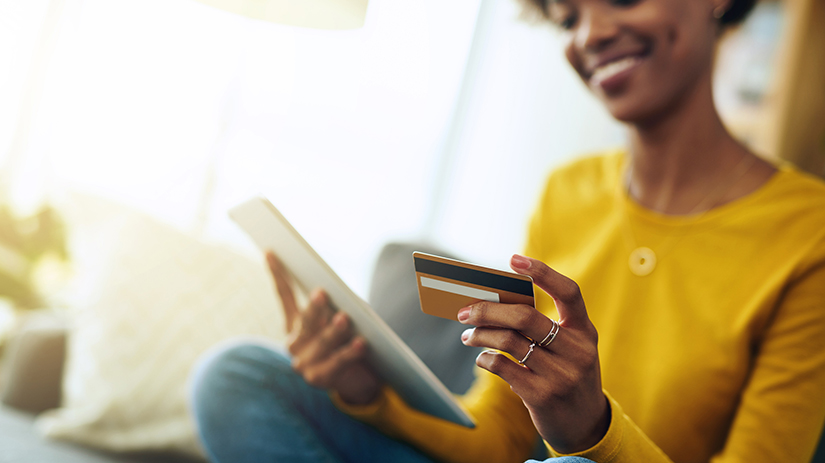 woman within credit card application